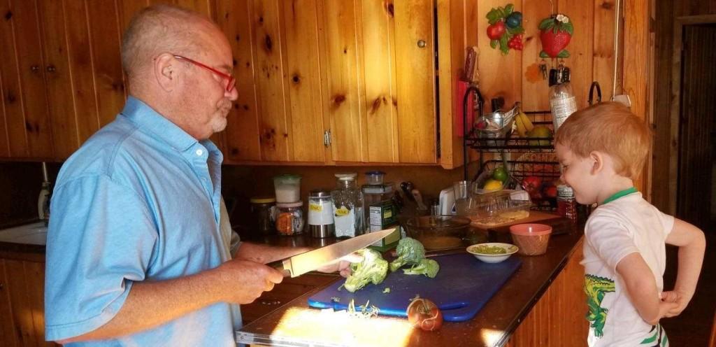 Little fan & Bapa making broccoli bites together